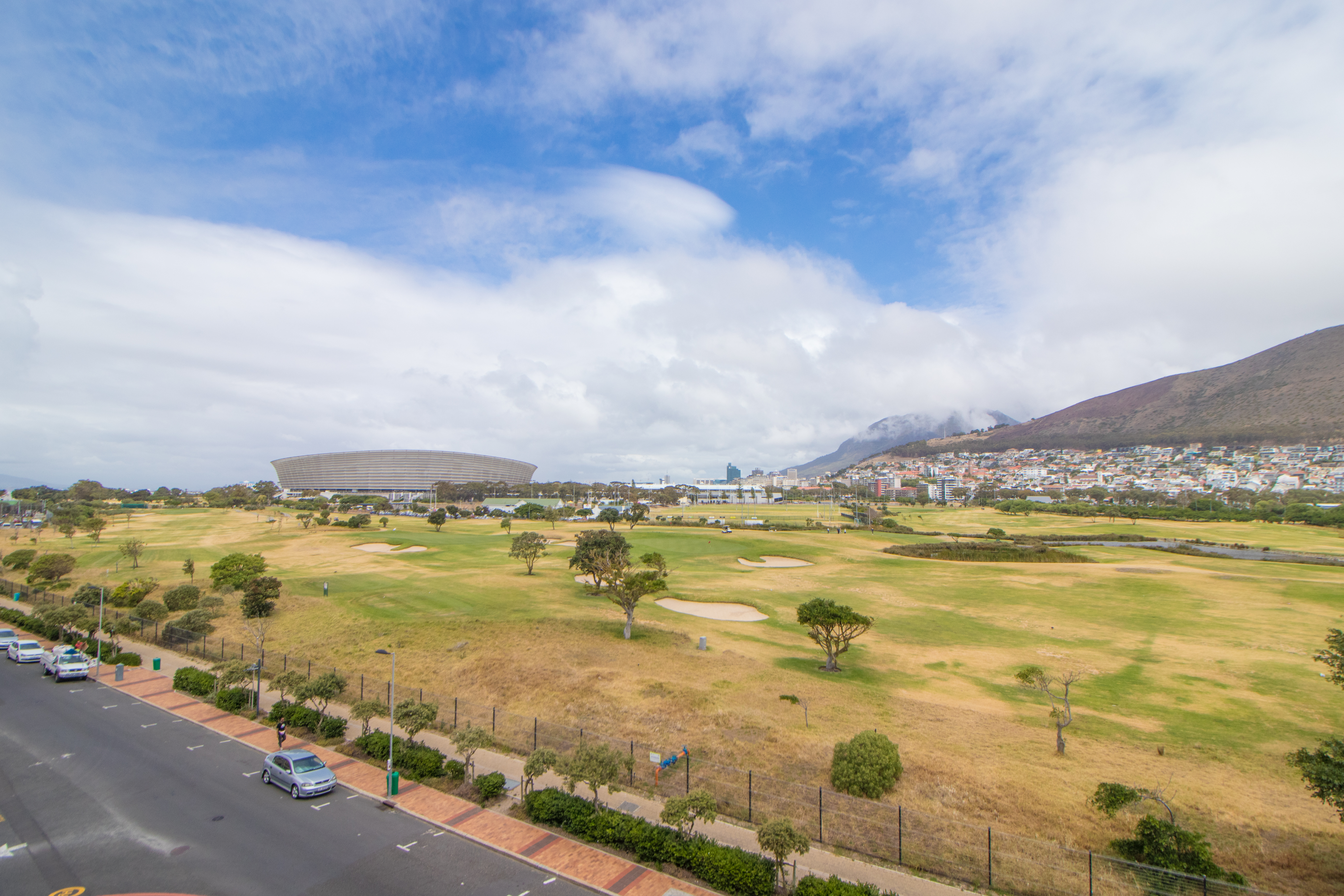 view of the stadium from Mouille Point Village